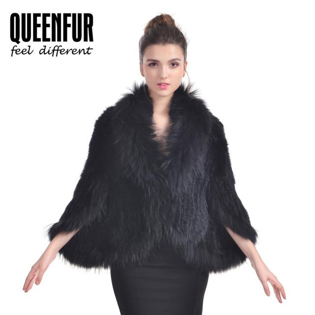 Das Mulheres da forma Genuína Xale De Pele Natural Coelho Malha Fur Poncho com o Real Raccoon Fur Pashmina 2016 New Design Rabbit Fur casaco