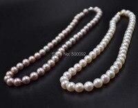 FINE 8.5-9mm cerca de ronda broche de agua dulce collar de perlas blanco púrpura 14 KG