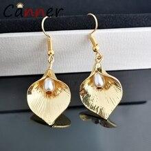 CANNER Flower Earrings Korean Gold/Silver Earrings for Women Dangle/Drop Earrings 2019 Earings Fashion Jewelry oorbellen FI недорого