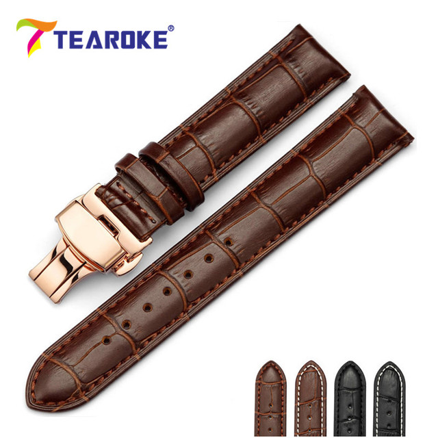 TEAROKE Genuine Leather Watchband 18-24mm Rose Gold Butterfly Deployant Buckle Stainless Steel Clasp Strap Watch Accessories