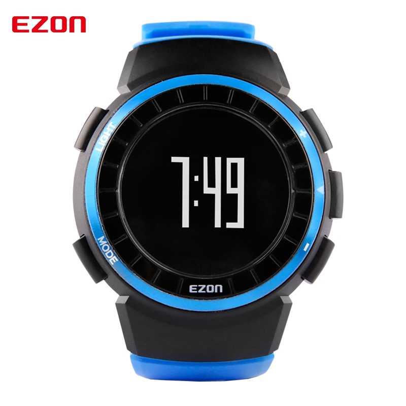 EZON T029 الرجال ساعة رياضية 5ATM مقاوم للماء متعددة الوظائف في الهواء الطلق تشغيل عداد الخطى السعرات الحرارية عداد المعصم الرقمية