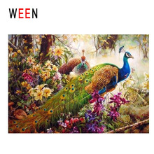 WEEN Peacock Diy Painting By Numbers Bird Oil On Canvas Forest Flower Cuadros Decoracion Acrylic Wall Art Home Decor