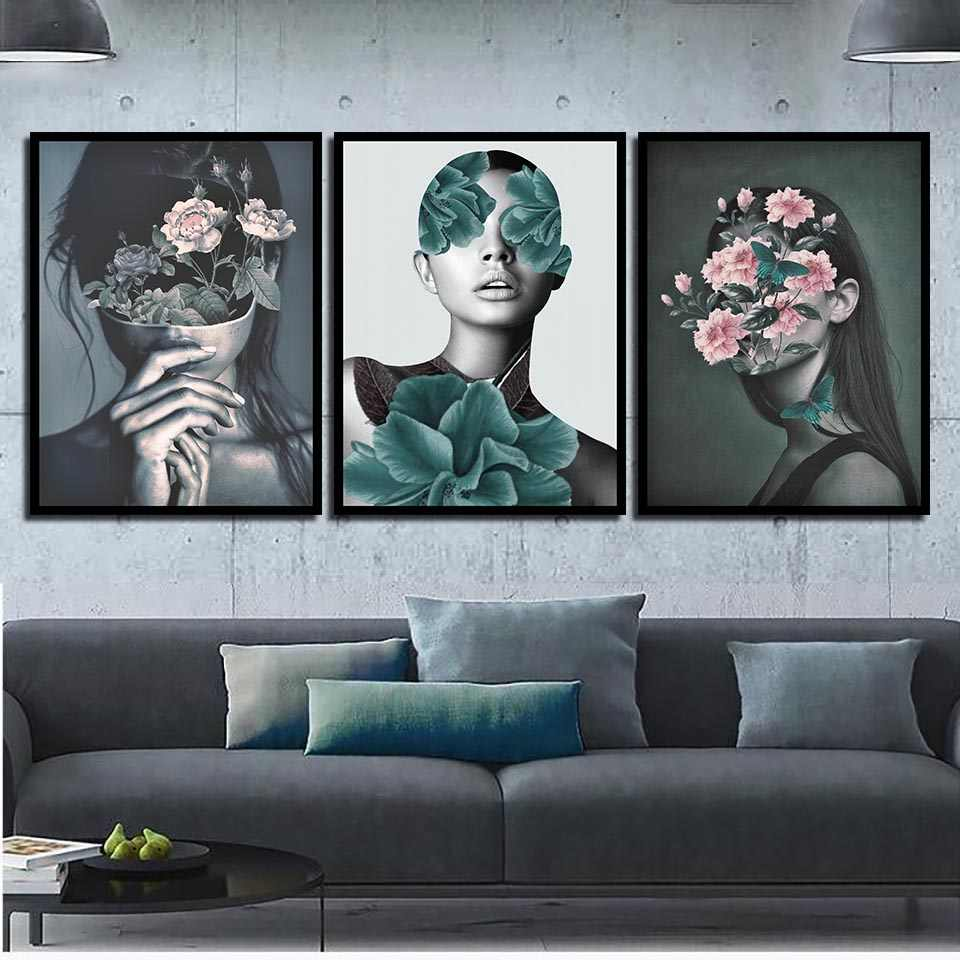 Watercolor Canvas Painting Print HD Picture Poster Pink Flowers Woman Nordic Wall Art Living Room Bedroom Bedside Home Decor