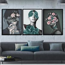 Watercolor Canvas Painting Print HD Picture Poster Pink Flowers Woman Nordic Wall Art Living Room Bedroom Bedside Home Decor(China)
