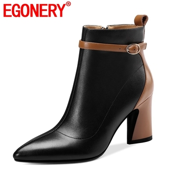 EGONERY women fashion ankle boots shoes pointed toe genuine leather high heels side zipper winter party heels woman booties 43CN