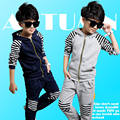 Spring autumn baby boy striped hooded clothing sets coat pants sports suit zipper tracksuits costumes clothes 2015 freeshipping
