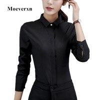 Long Sleeve Women Black Shirt Brand New Elegant Blouses OL Spring Autumn Formal Slim Fit Office
