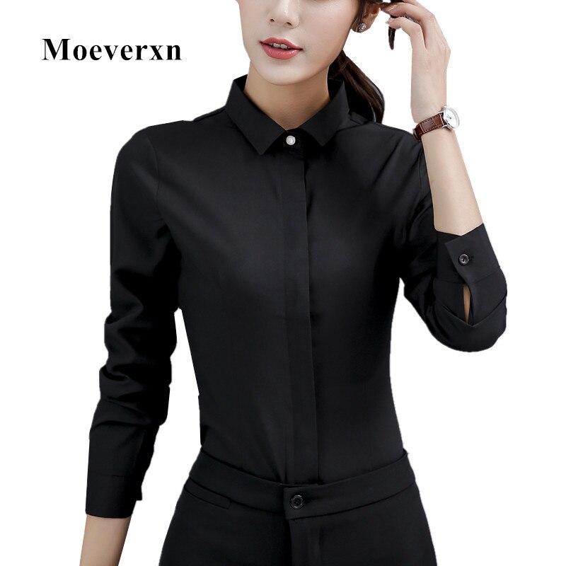 Uzun Kollu Kadın Siyah Gömlek Marka Yeni Zarif Bluzlar OL Bahar sonbahar Resmi Slim Fit Ofis Artı Boyutu Bayanlar Tops S 5XL