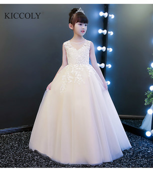 Champagne Girl Dress Flower Girl Dress Party Pageant Dress Appliques Lace Long Princess Wedding Dress Girls First Communion Gown