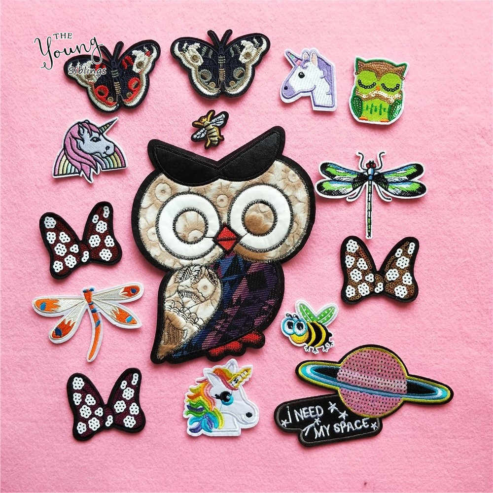 New arrive Embroidery hot melt adhesive patches iron on clothes Cartoon Unicorn Dragonfly Stickers Insect badge DIY Accessories