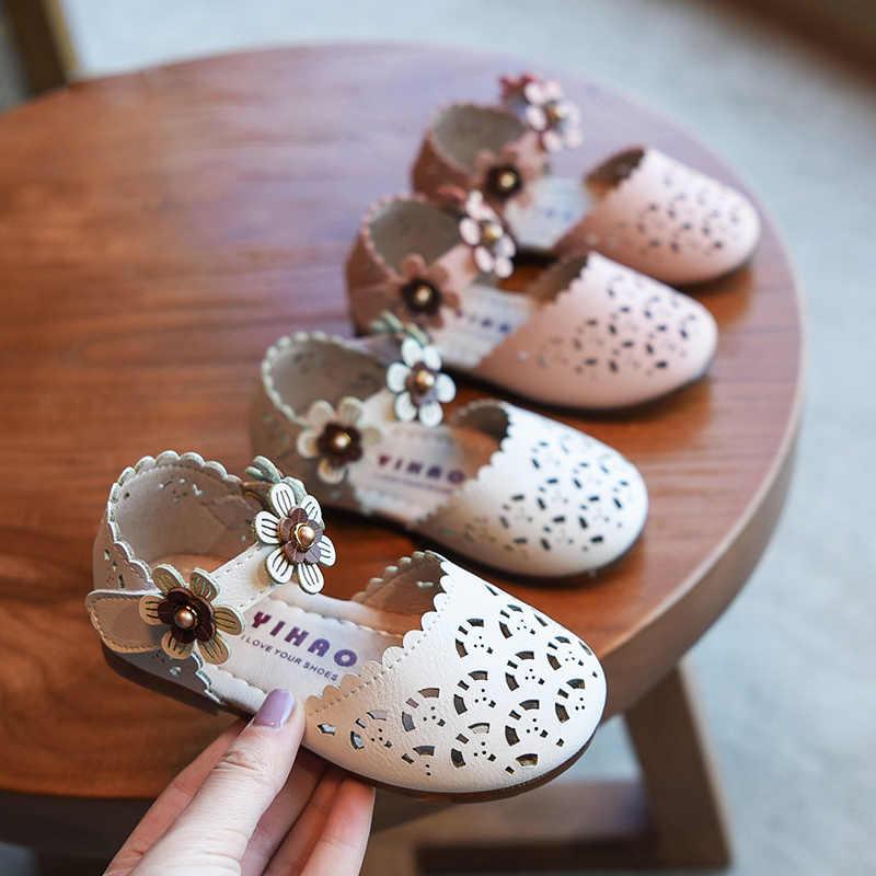Bakkotie חדש קיץ תינוק בנות אופנה ורוד פרחי סנדלי פעוטות ילדים חמוד המפלגה שמלת נעלי נסיכה לחתוך פסקי רך סנדלי