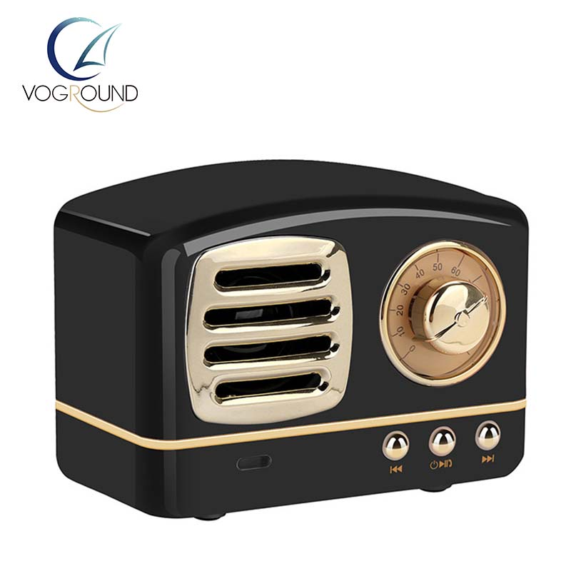 New Retro Wireless Bluetooth Speaker Vintage Heavy Bass Mini Speaker Support TF Card U Disk Music Player For Mobilephone