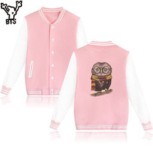 LUCKYFRIDAYF Owl Potter Casual Baseball Jacket Women Fashion Cartoon Printed College Baseball Jackets Pink Casual Pink And White