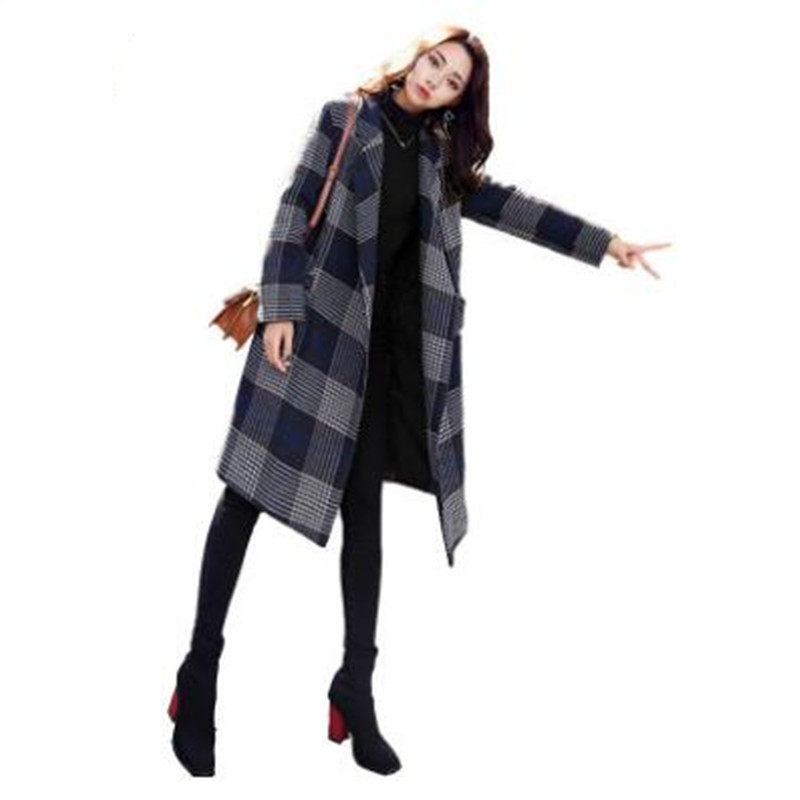 Plaid   trench   coat female long section 2018 new casual loose women's coat