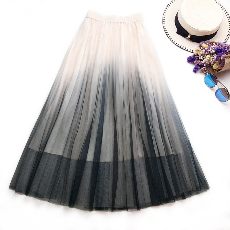 Tulle Skirts Womens Beige Gray Pink Adults Gradual Color Pleated Skirt Elastic High Waist Casual Loose Mesh A-Line Midi Skirt