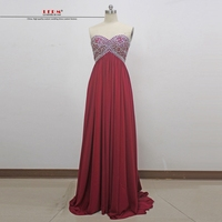 Long Graduation Dresses 2017 New Sexy Sweetheart Crystal ALine Burgundy Prom Dresses Plus Size Real Photo