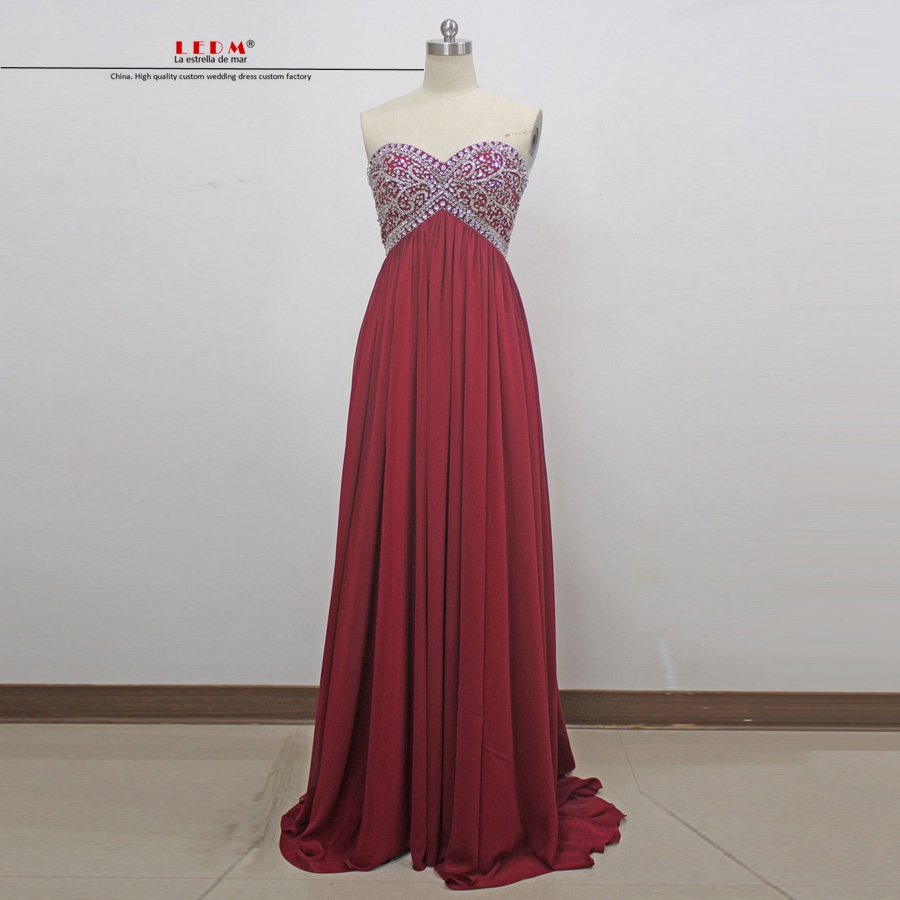 Long graduation dresses 2018 new sexy sweetheart crystal ALine burgundy prom dresses plus size real photo party dresses cheap ...