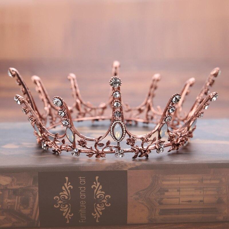 Vintage barroco redondo corona nupcial de la boda accesorios para el cabello de cristal de diamantes de imitación de pelo joyería de la boda concurso rey de la Reina Tiara