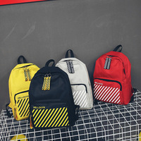 Korean Simple Fashion Casual Schoolbag Stripe Contrast Men Women Backpack Trend Travel Bags Four Colors Roomy Canvas Backpacks