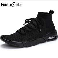 Hundunsnake High Top Running Socks Sneakers Men Air Cushion Sports Shoes Man Black Knit Mens Running Shoes Sport Athletic T655