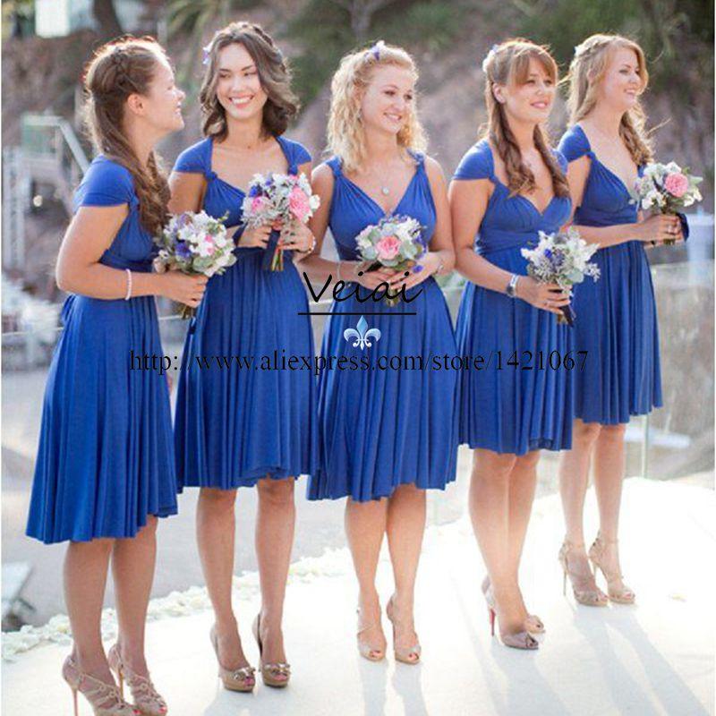 027b532185 Fast Shipping Royal Blue Short Bridesmaid Dresses For beach Weddings Party  2016 Ruched Chiffon V neck Formal Party Gown DS242-in Bridesmaid Dresses  from ...