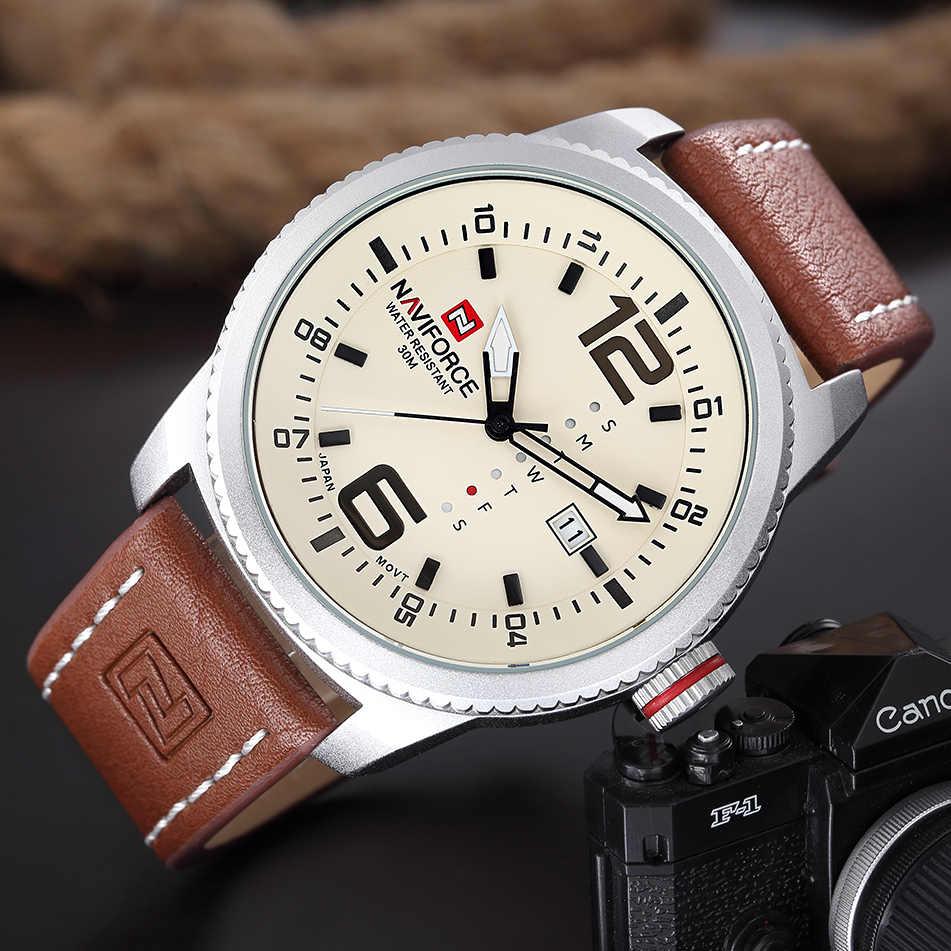 2019 NOVA Luxo Marca NAVIFORCE Men Sport Relógios Homem do Relógio de Quartzo dos homens Do Exército Militar de Couro Relógio de Pulso Relogio masculino