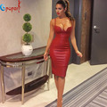2016 summer new women hot selling khaki pink gold bandage dresses kim kardashian sexy black leather evening party dress HL607