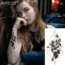 1 ADET Solmuş Güller Sıcak Siyah Beyaz Büyük Çiçek Kına Geçici Dövme Siyah Mehndi Tarzı Su Geçirmez Dövme Etiket