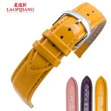Laopijiang correa de piel impermeable y púrpura rosado accesorios moda de cuero reloj 12 / 14 / 16 / 18 / 20 mm
