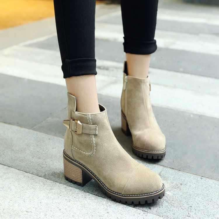 Большие размеры 11, 12, 13, европейцы и американцы с круглым носком, на квадратном каблуке и с ремешком на молнии сбоку, короткие сапоги