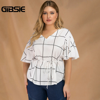 GIBSIE Plus Size Tie Waist Plaid Shirt Top Women 2019 Summer Fashion V-Neck Butterfly Sleeve Casual Ladies Tops and Blouses