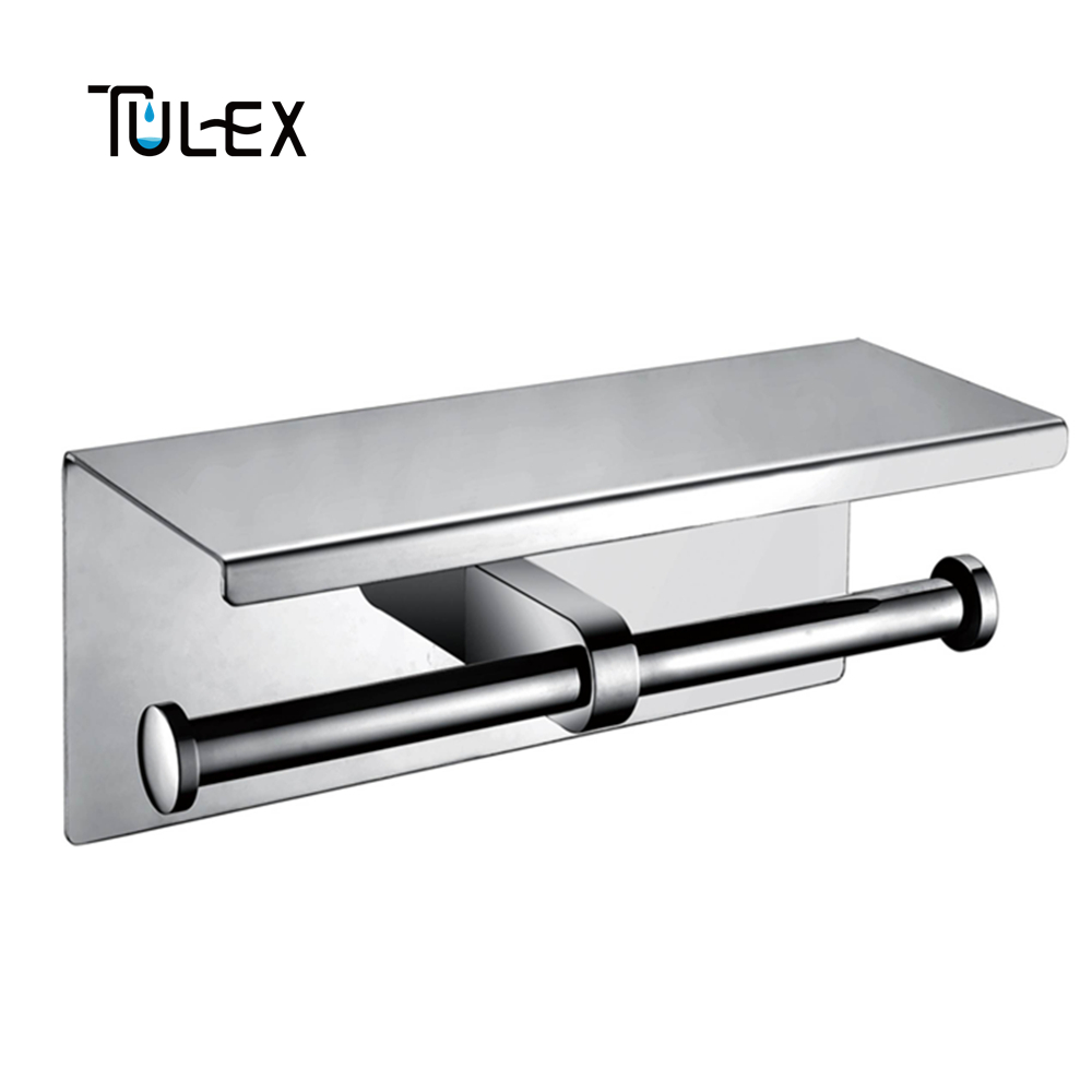 Tulex Toilet Paper Holder Wall Mounted Double Roll SUS304 Stainless Steel High Quality Chrome Bathroom Accessories high quality stainless steel sus304 hook style satin kitchen bathroom bar style suction cup rolling tissue toilet paper holder