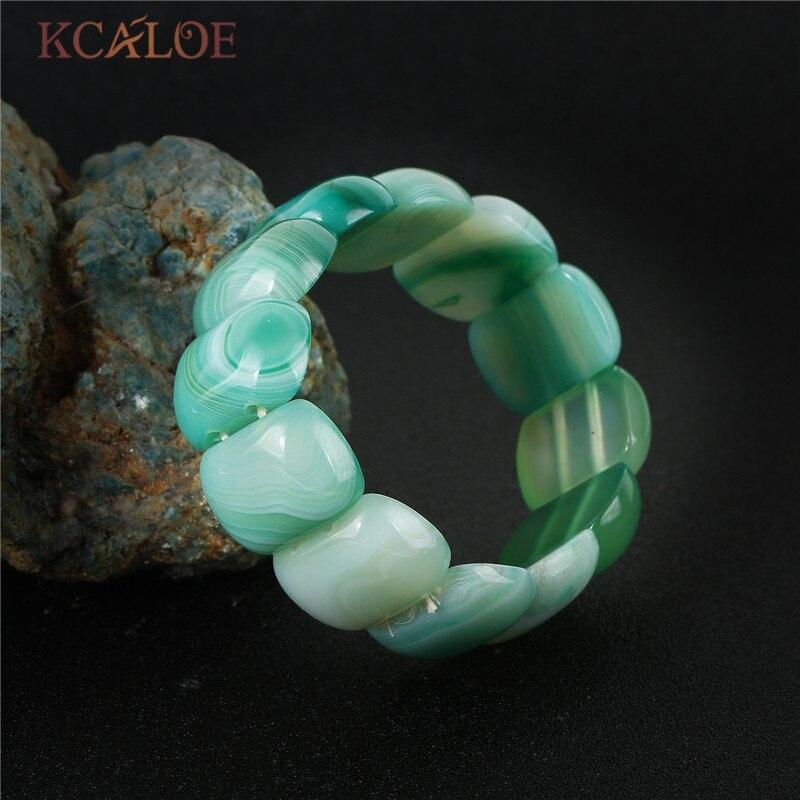 f7022fc4a1af KCALOE con moda piedra brazaletes para mujeres cuadrado Onyx piedras ...