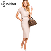 Sishot Women Bodycon Dresses 2017 Summer Light Gray Knee Length Patchwork O Neck Sheath Short Sleeve