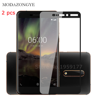 2pcs Tempered Glass For Nokia 6 2018 Screen Protector Nokia 6 2018 Nokia 6.1  TA-1068 TA-1050 TA-1043 TA-1016 TA-1045 Full Cover