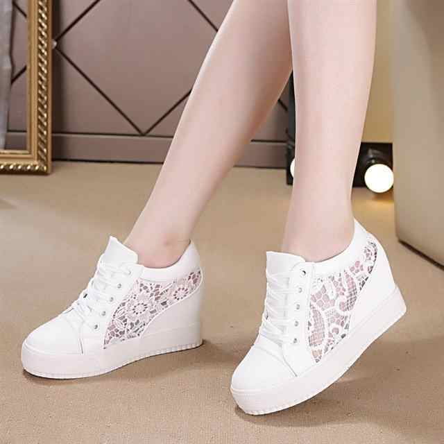 2019Fashion Wedge Women Footwear Height Increasing women Shoes Women's casual shoes Sneakers white/black shoes women size 35-40