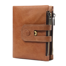 HUANILAI Rfid 100% Genuine Leather Men Wallets Credit Business Card Holders Women Cowhide Wallet Purse Carteira QY02