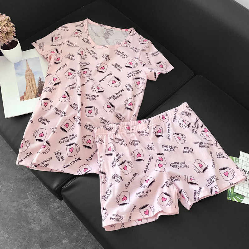 3b088df53851 Cute pajamas sets with sweet pink coffee cups awls cars dogs printed cotton  fashion women pajama