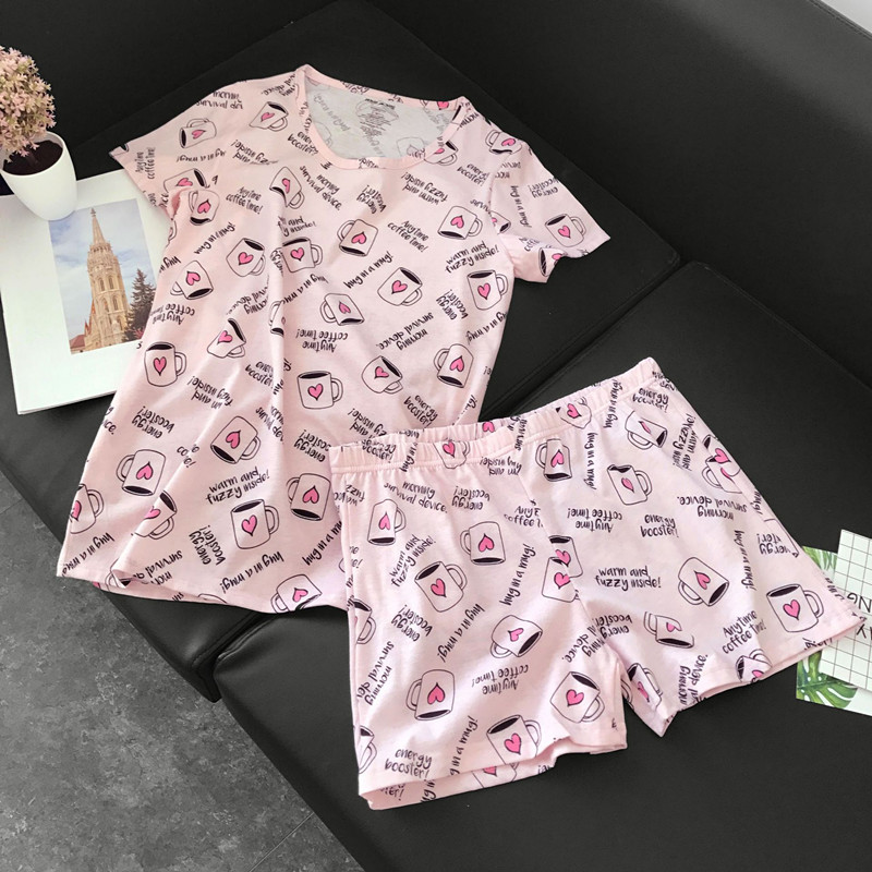 Cute pajamas sets with sweet pink coffee cups awls cars dogs printed cotton fashion women pajama sets hot selling for ladies