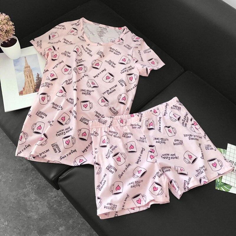 Gut Ausgebildete Nette Pyjamas Sets Mit Süße Rosa Kaffee Tassen Awls Autos Hunde Gedruckt Baumwolle Mode Frauen Pyjama Sets Heißer Verkauf Für Damen Neueste Technik