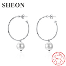 SHEON 2 Color Genuine 925 Sterling Silver Simple Female Hoop Earrings Trendy Pearl Fine Women Jewelry