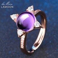 LAMOON 925 Sterling Silver Biżuteria Pierścionki Stars Krzyż Kamień Naturalny Ametyst Fioletowy Kobiety Anillos Pierścionek zaręczynowy Fine Jewelry