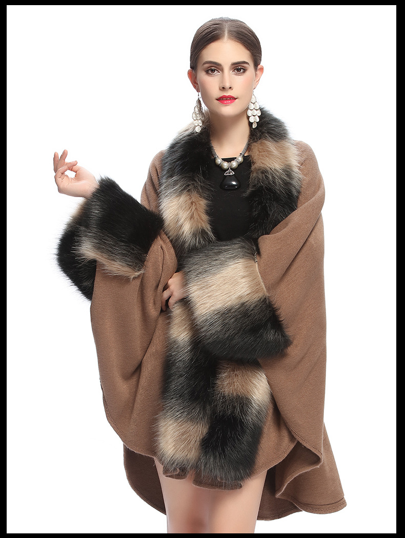 SC126 Women Party Overcoat Cloak High 2017 Long Winter Imitation Fox Fur Collar Knitted Cardigan Cape Faux Cashmere Poncho Shawl in Women 39 s Scarves from Apparel Accessories