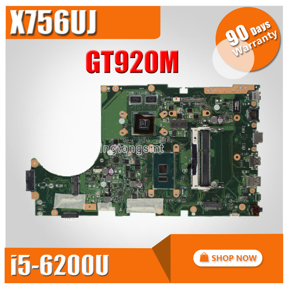 for ASUS X756UJ Laptop motherboard cpu I5-6200U GT920M video card mainboard 100% tested