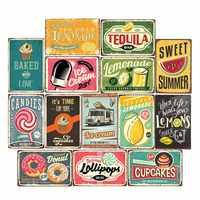 Letreros de lata Vintage para bebidas y limonada, cartel de Metal para decoración de pared Retro para Bar o cafetería de 20x30cm