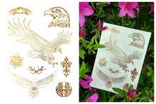 Gold Temporary Tattoos Changing Color In The Sun Jewelry Flash Body Art Eagle Sexy Flash Tattoos-in Temporary Tattoo Boy Girl