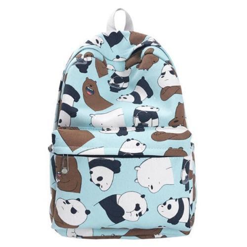 New Anime We Bare Bears Backpack Cartoon Student Girl School Bags Zipper Canvas Shoulder Laptop Travel Bags Gift