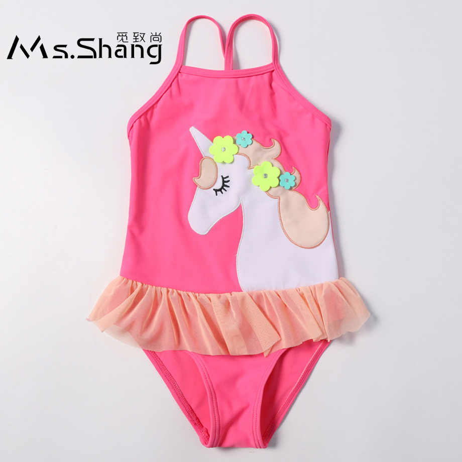 3b2d4ac6e821b 2019 Infant Baby Girl Swimming Suit 3D Unicorn Girls One Piece Swimsuits  Pink Toddler Girl Bathing