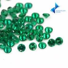 Нано искусственные камни круглой огранки зеленого цвета для