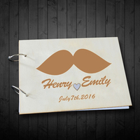 Personalized Engagenment Gift Rustic Wedding Guest Book Custom Mustache Name And Date Signature Book Photo Album